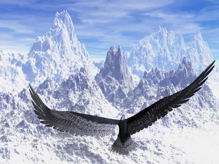 An eagle flight against white snowy mountains
