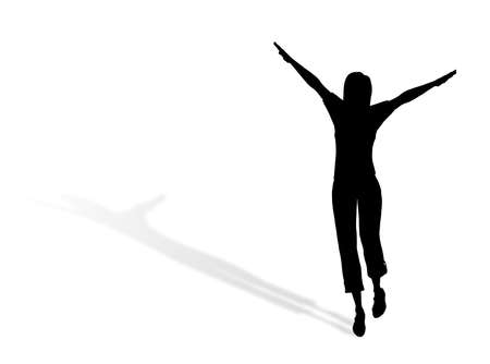 A woman jumping and dancing for happiness  Stock Photo