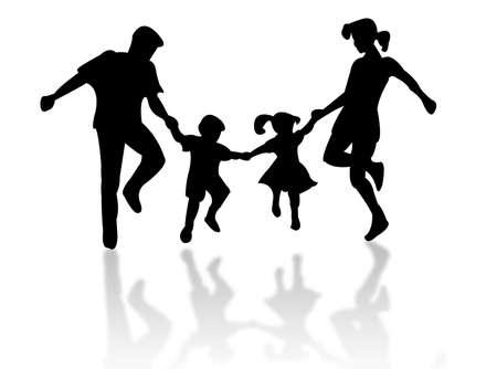 白い背景に対して家族のシルエットをジャンプ