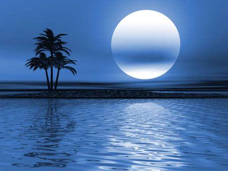 light reflex: Sea landscape with a palm on the island