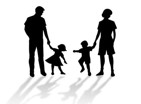 complicity: Happy family silhouette against a white background