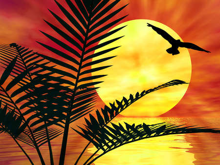 Palm tree landscape with ocean, sun and a bird Stock Photo