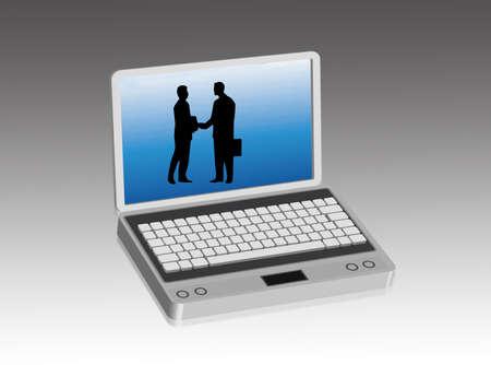 complicity: Businessmen inside a computer screen