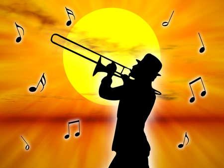 trombon: Un jugador de la trompeta en la puesta del sol contra el sol  Foto de archivo