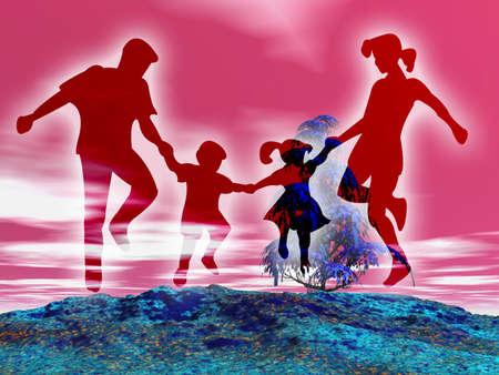 Feliz familia en el medio rural y colorido paisaje  Foto de archivo - 1297215