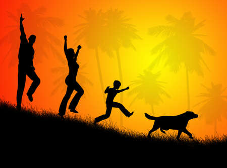 Illustration about happy  in the rural landscape Stock Photo