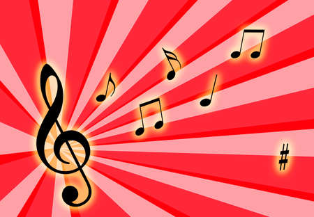 Music notes on the air with a colorful background Stock Photo