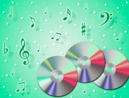 analogical: Music CD rom with notes in the air and colourful background Stock Photo