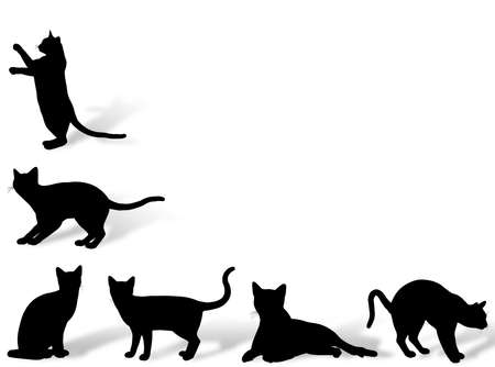 stray: Illustration about funny cats silhouette in typical poses Stock Photo