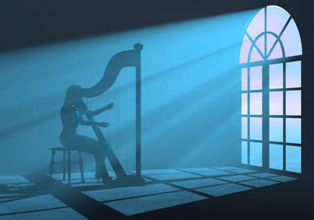 woman playing harp in a colorful light  Stock Photo