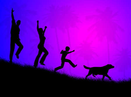 procreation: Happy  with dog, running on the grass in the night