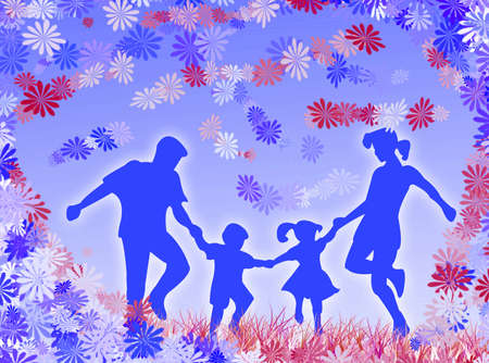 complicity: A very happy family among flowers and blue color