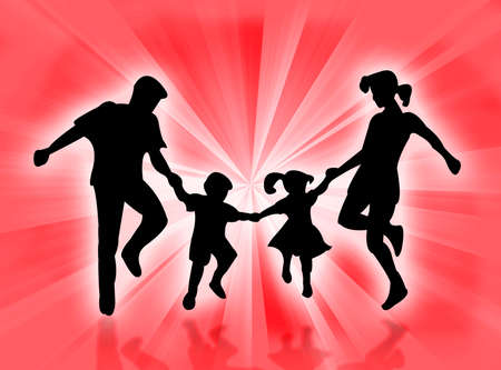 complicity: Happy family jumping and dancing in the sunrays Stock Photo