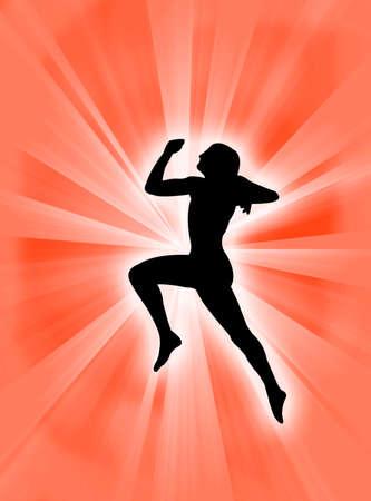 expression corporelle: Expression du corps humain sauter sur un fond de soleil-burst  Banque d'images
