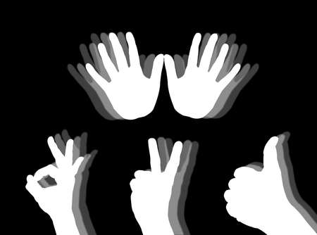affirmation: Human hands silhouette as symbols of human feelings