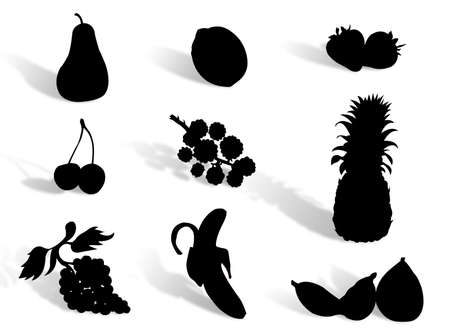 Fruit silhouette to represent healthy diet