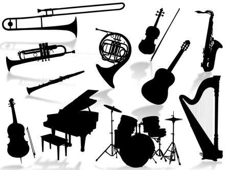 音楽の世界を表現する楽器シルエット 写真素材