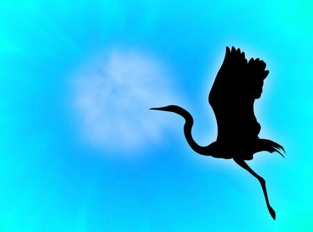 Heron silhouette flying in a blue sky photo