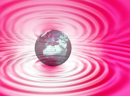 World concept between pink and white ripples  Stock Photo - 1810226