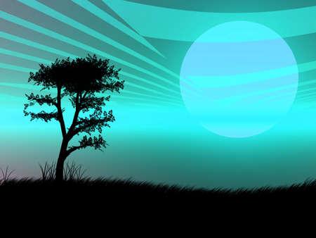 に対して非常に青の夕日の木のシルエット