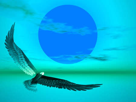 eagle flying: Eagle flying towards the sun in this blue illustration