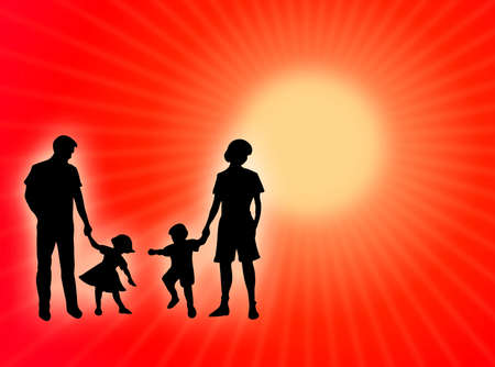 procreation: Happy family silhouette in the colorful sun-rays Stock Photo