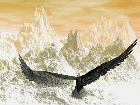 Eagle flying towards the mountains in the sunset photo
