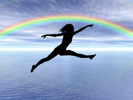 Black woman silhouette jumping in the rainbow landscape Stock Photo