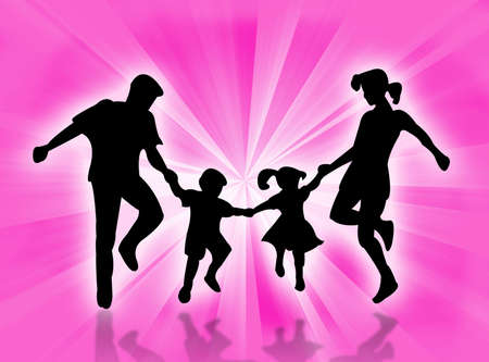 complicity: Happy family dancing against a colorful background Stock Photo