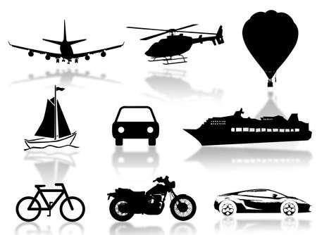 旅行の概念を表すシルエットを輸送します。