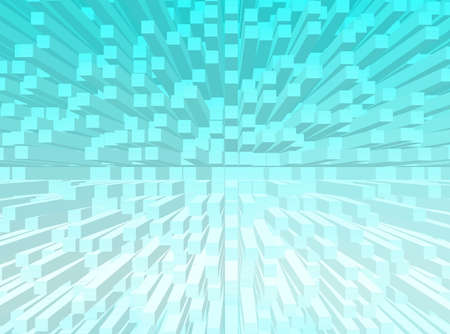 realize: Blue abstract background with cubes all around Stock Photo