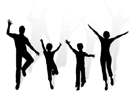 complicity:  silhouette dancing and jumping for happiness