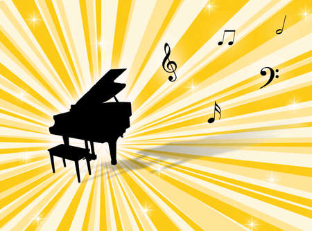 Musical instrument with notes on a colorful background Stock Photo - 2135002