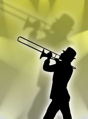 serenade: Trumpet player silhouette in the yellow lights
