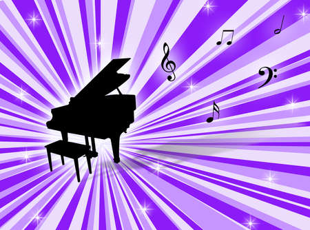 Musical instrument with notes on a colorful background Stock Photo - 2174793