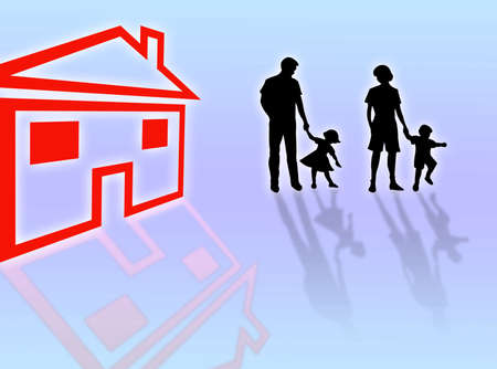 complicity: Family silhouette with their house for sale