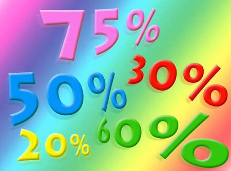 Discounts percentages on a colorful background