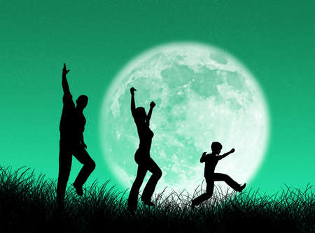 complicity: Happy family running and jumping in the moon