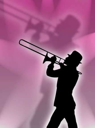 Trumpet player silhouette in the pink lights