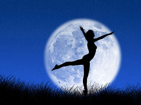 Woman dancing in front of the moon