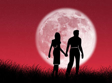 Couple walking towards the moon as symbol of love photo