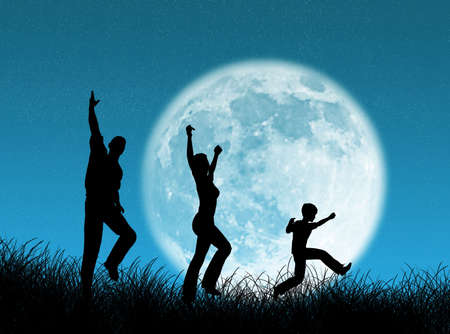 complicity: Happy  running and jumping in the moon Stock Photo