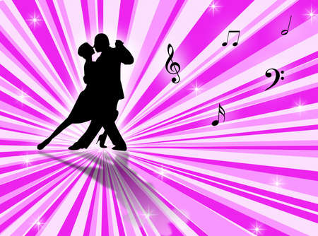 sexual activity: Couple dancing a tango on a star-burst background