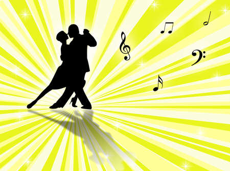 Couple dancing a tango on a star-burst background