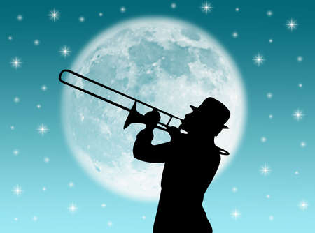 serenade: A trumpet player in the night against the moon