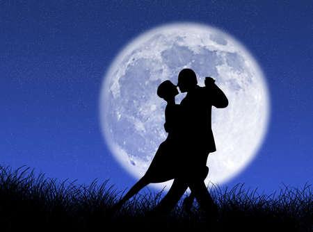 月明かりの下で、タンゴを踊るカップル 写真素材