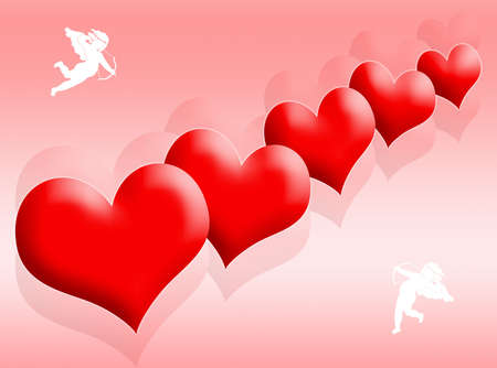infatuation: Red hearts background as symbol of love