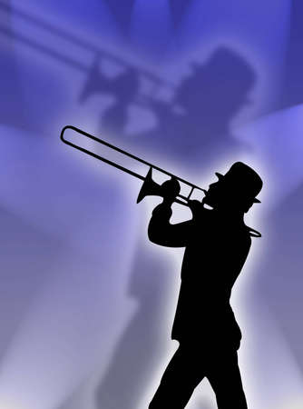 Trumpet player silhouette in the blue lights Imagens