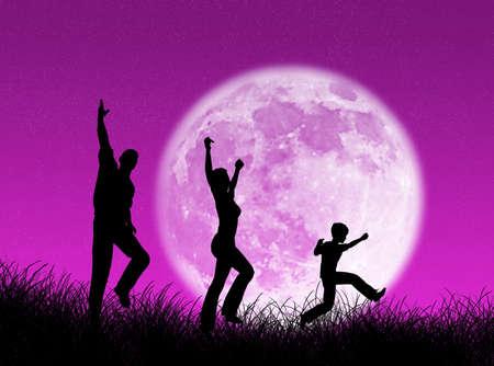 ハッピー ランニングと月のジャンプ