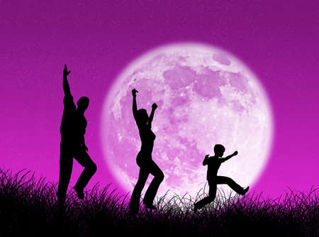 Happy  running and jumping in the moon Stock Photo